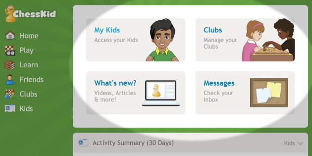the key to improvement in chess is practice so we want to encourage kids to play learn weve included a new activity summary on the home page - Kids Home Pages